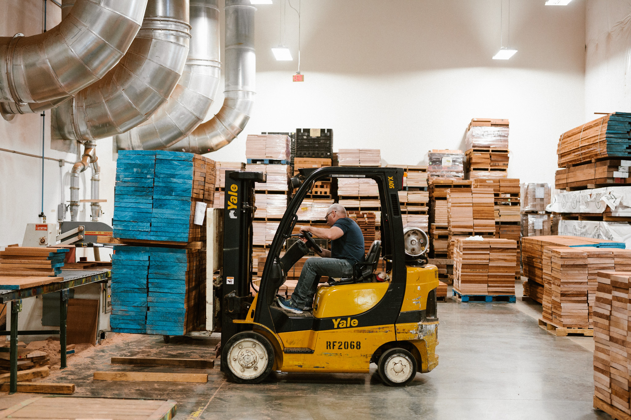 Paul Platts driving fork lift in PRS rough cut area