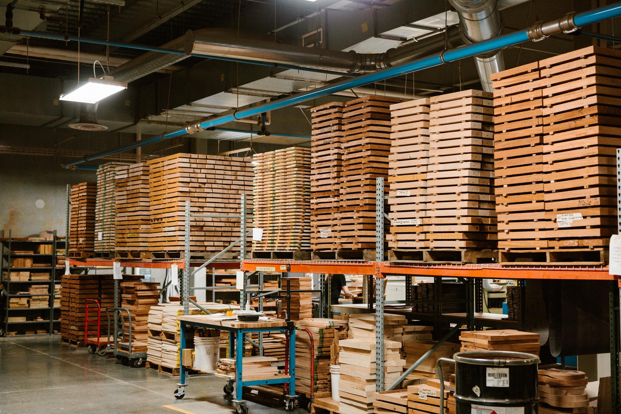 mahogany and maple inside PRS factory