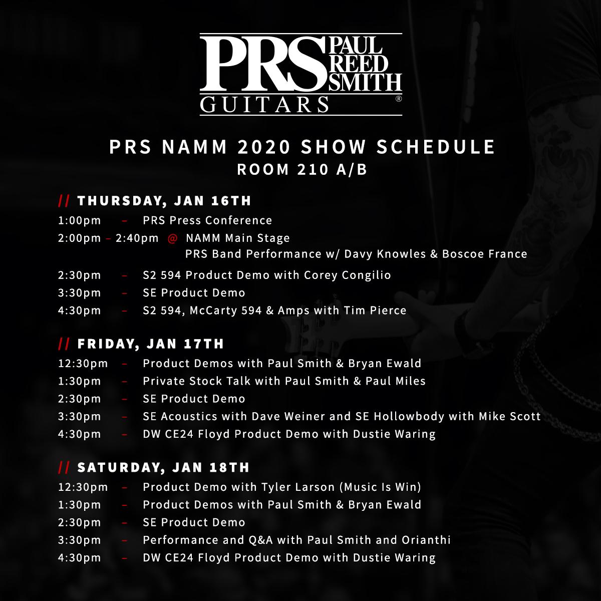PRS NAMM Booth Schedule 2020